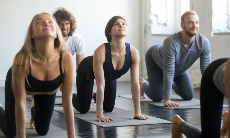 Mixed ability pilates class